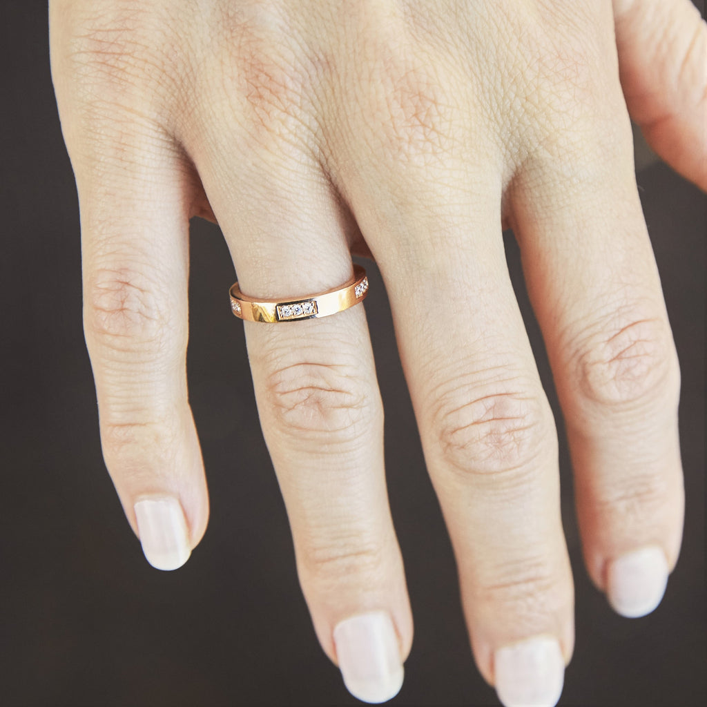 Diamond Engagement Band in Rose Gold On Finger By Irthly