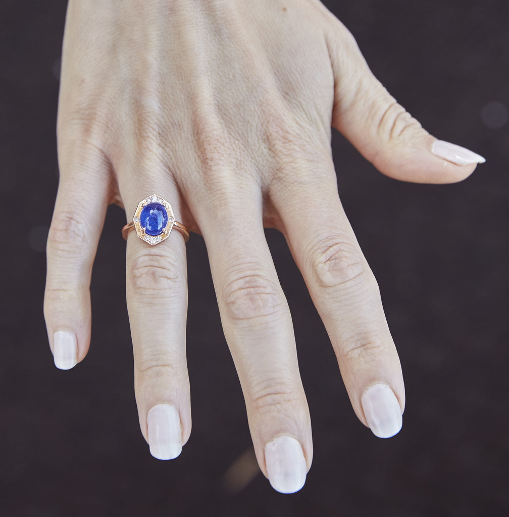 Tanzanite Ring With Diamonds in Rose Gold On Hand By Irthly
