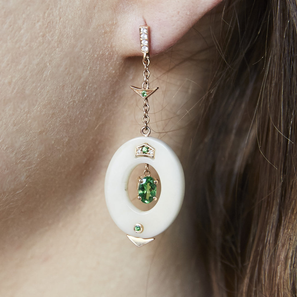 Small Affinity Diamond and Tsavorite Earrings in 18k Gold Jewelry