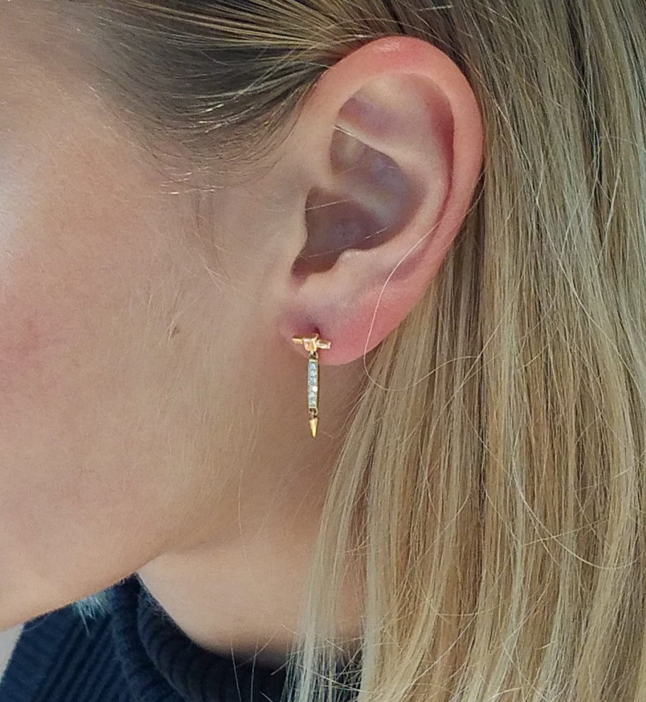 Diamond Bar Dangle Stud Earrings in Rose Gold on Model By Irthly
