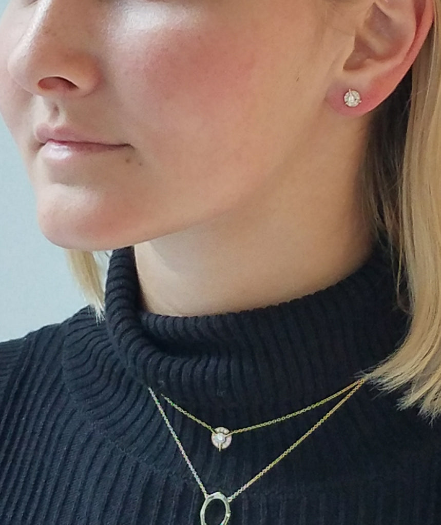 Dainty Diamond Necklace with Diamond Center In Yellow Gold On Model By Irthly