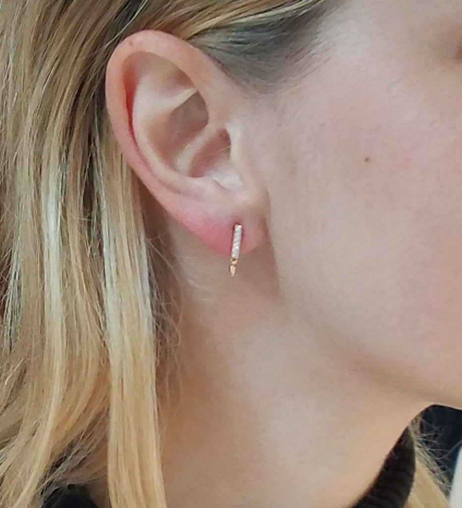 Diamond Bar Earrings in Rose Gold on Model By Irthly