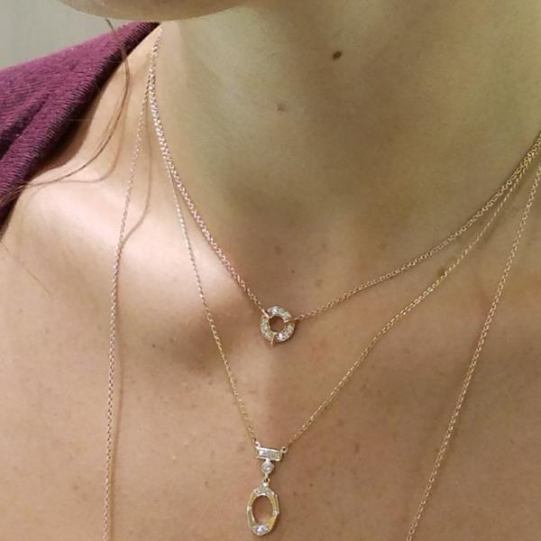 Dainty Circle Diamond Necklace In Rose Gold On Model By Irthly