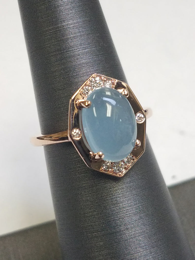 Diamond Ring With Aquamarine Center in Rose Gold By Irthly-Angled View