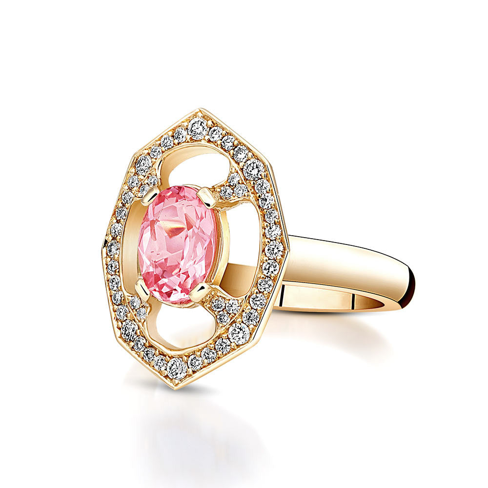 Pink Morganite Diamond Ring in Yellow Gold By Irthly