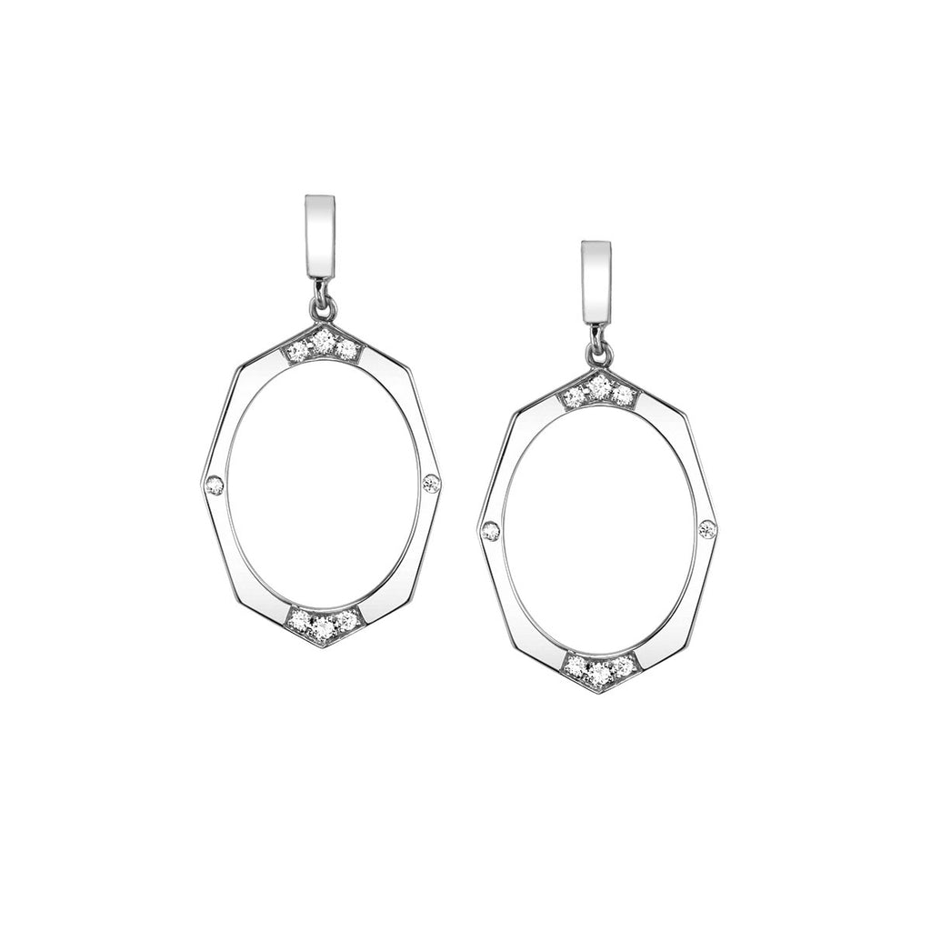 Diamond Drop Earrings In White Gold By Irthly