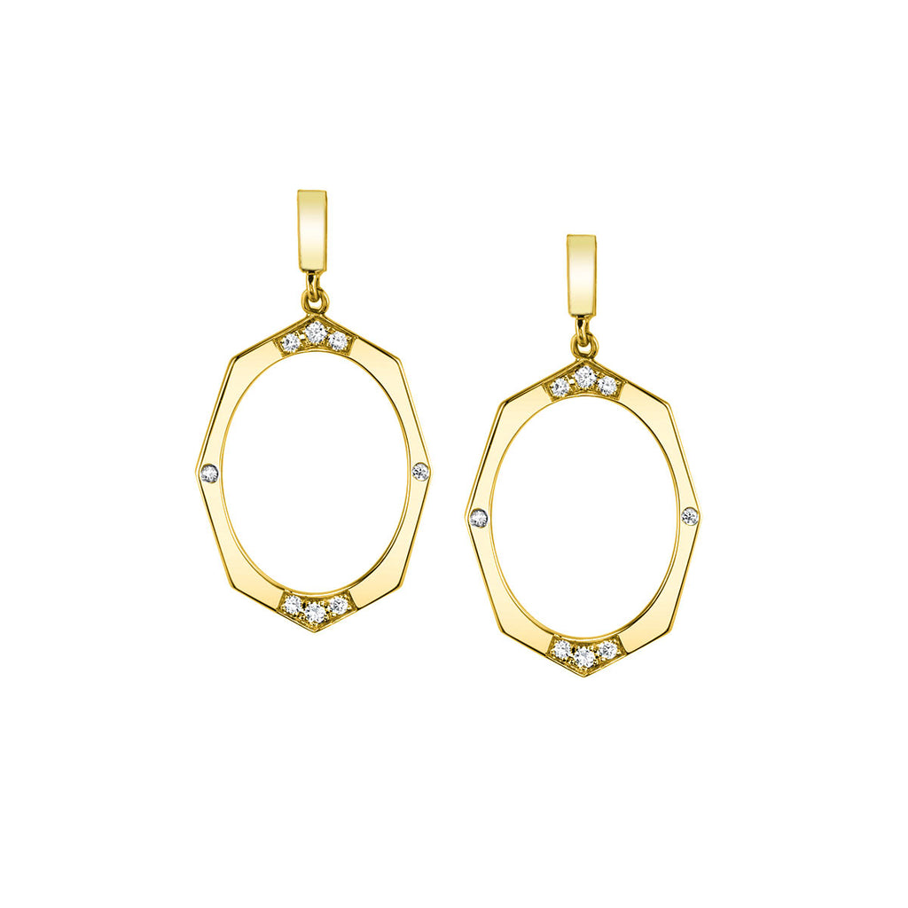 Diamond Drop Earrings In Yellow Gold By Irthly