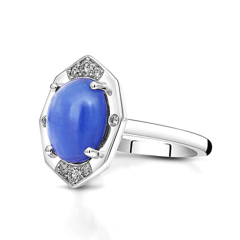 Tanzanite Ring With Diamonds in White Gold By Irthly