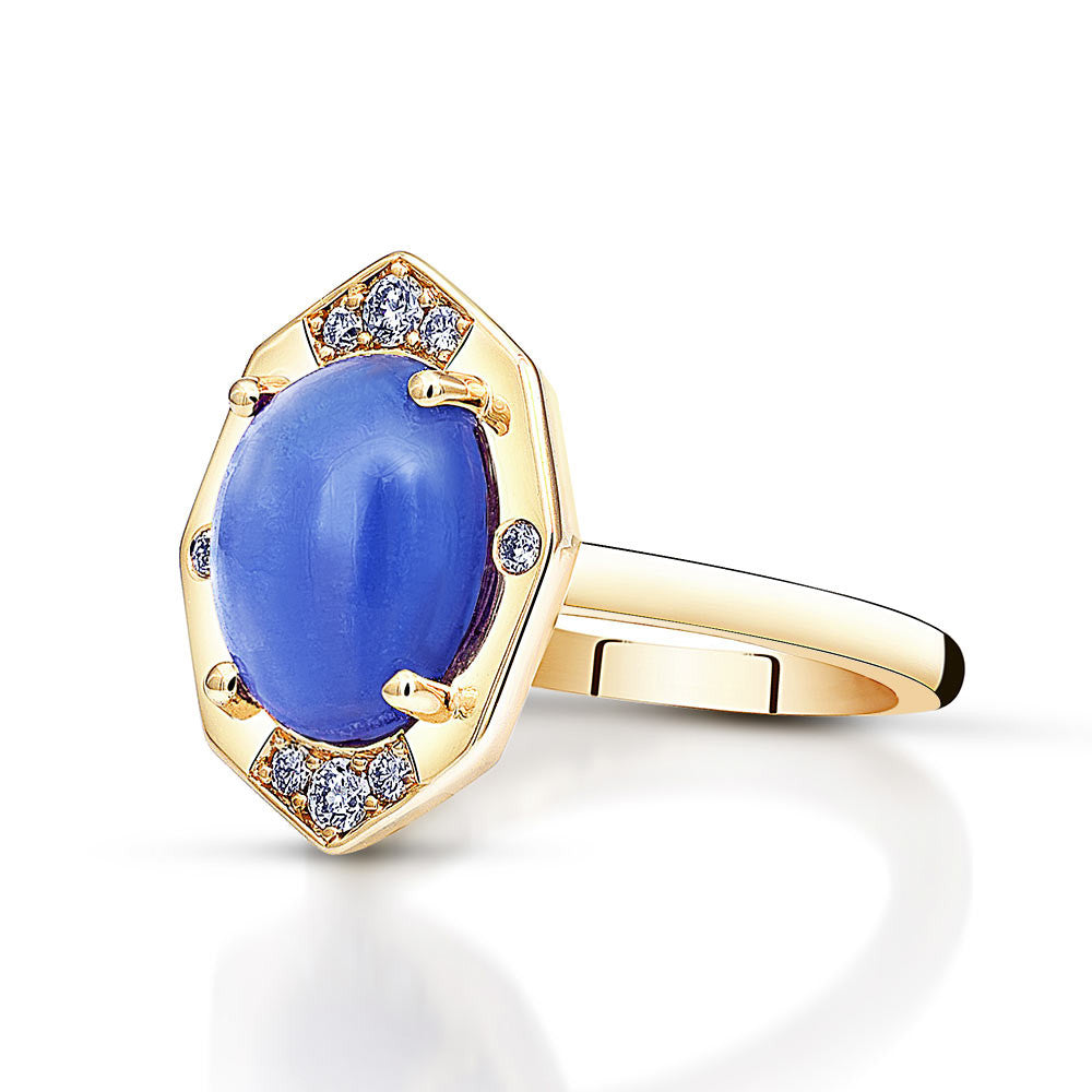 Tanzanite Ring With Diamonds in Yellow Gold By Irthly