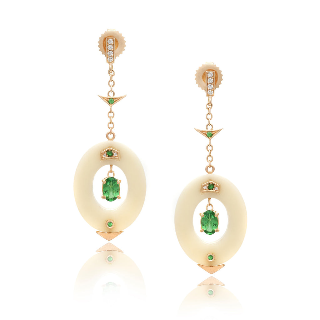 Small Affinity Diamond and Tsavorite Earrings in 18k Gold Jewelry - Irthly