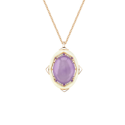 Affinity Diamond Pendant with Rare Holly Blue Chalcedony in 18k Gold Jewelry - Irthly