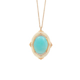 Affinity Diamond Pendant with Rare Blue Opal Center in 18k Gold Jewelry - Irthly