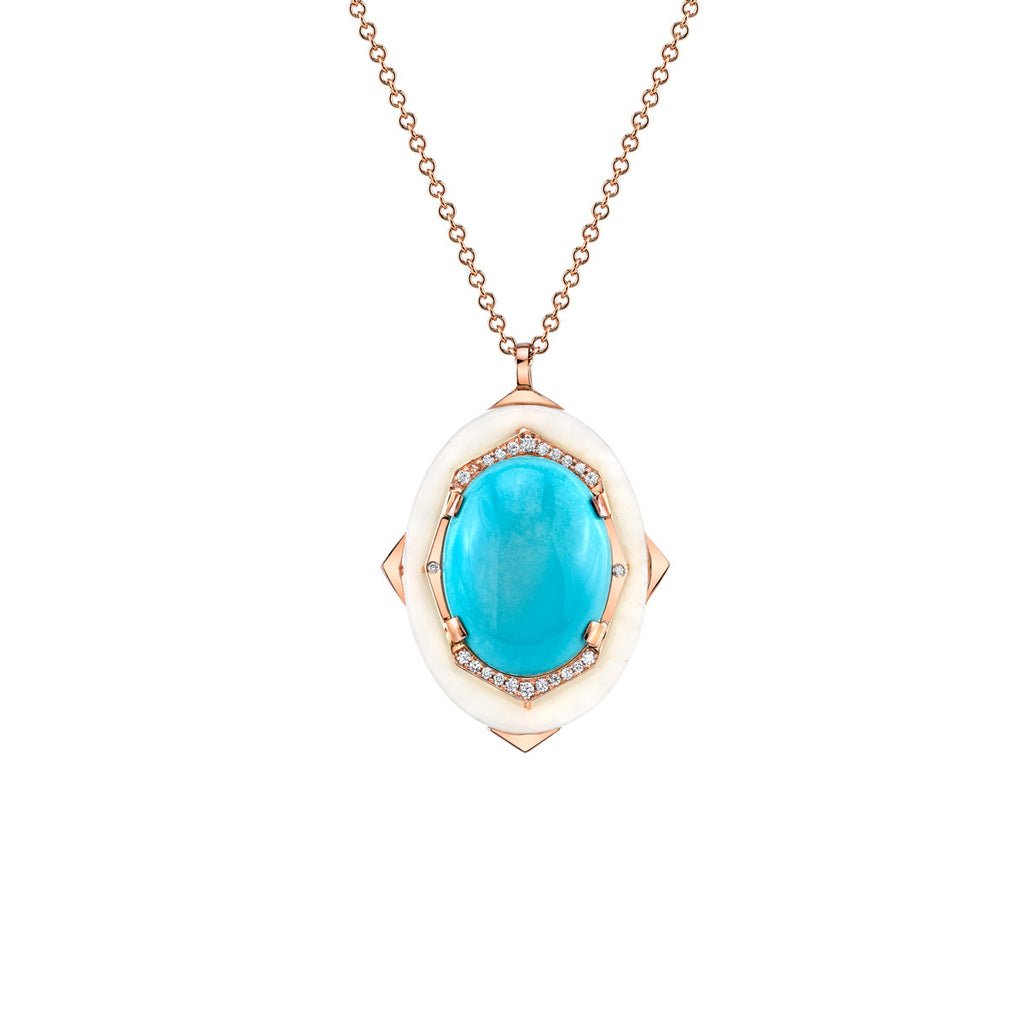 Affinity Diamond Pendant with Natural Sleeping Beauty Turquoise Center in 18k Gold Jewelry - Irthly