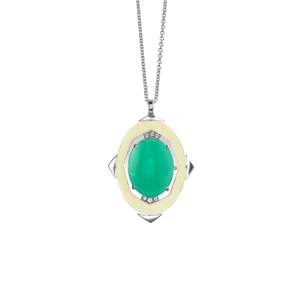 Small Affinity Diamond Pendant with Green Opal Center in 18k Gold Jewelry - Irthly
