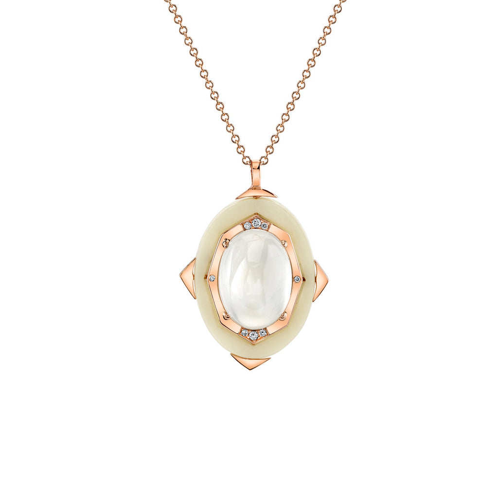 Small Affinity Diamond Pendant with Blue MoonStone in 18k Gold Jewelry - Irthly