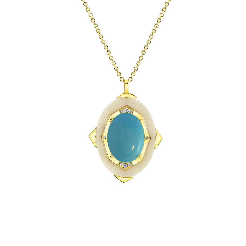 Small Affinity Diamond Pendant with Turquoise Center in 18k Gold Jewelry - Irthly