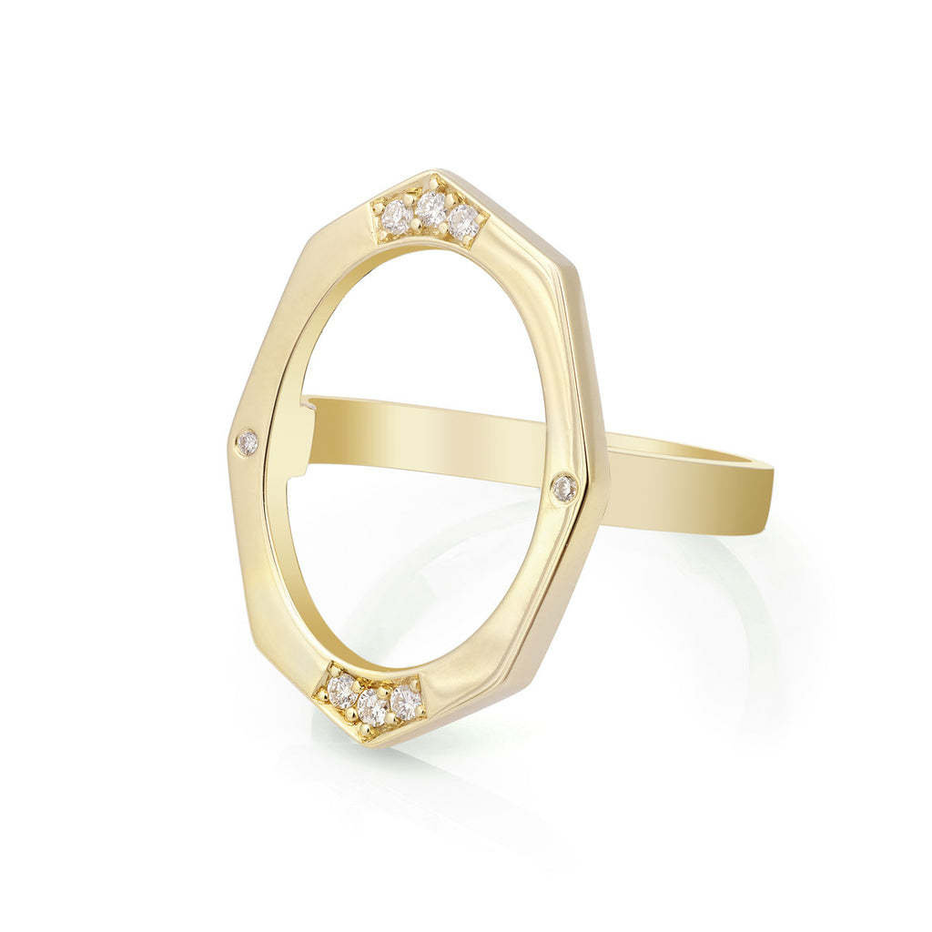 Large Diamond Ring in Gold Jewelry-Affinity Sans Series