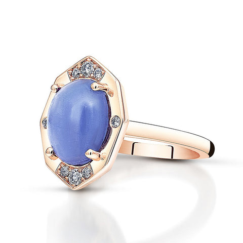 Tanzanite Ring With Diamonds in Rose Gold By Irthly