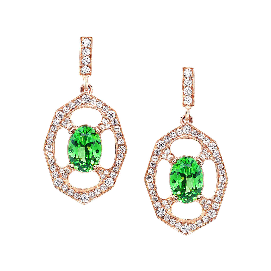 Tsavorite Garnet and Diamond Drop Earrings In Rose Gold By Irthly
