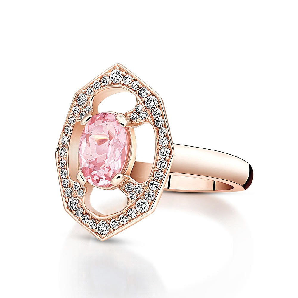 Pink Morganite Diamond Ring in Rose Gold By Irthly