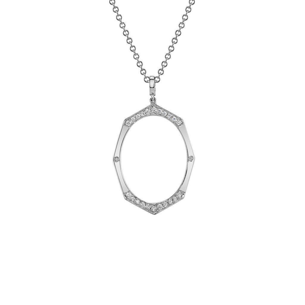 Large Diamond Pendant in White Gold By Irthly