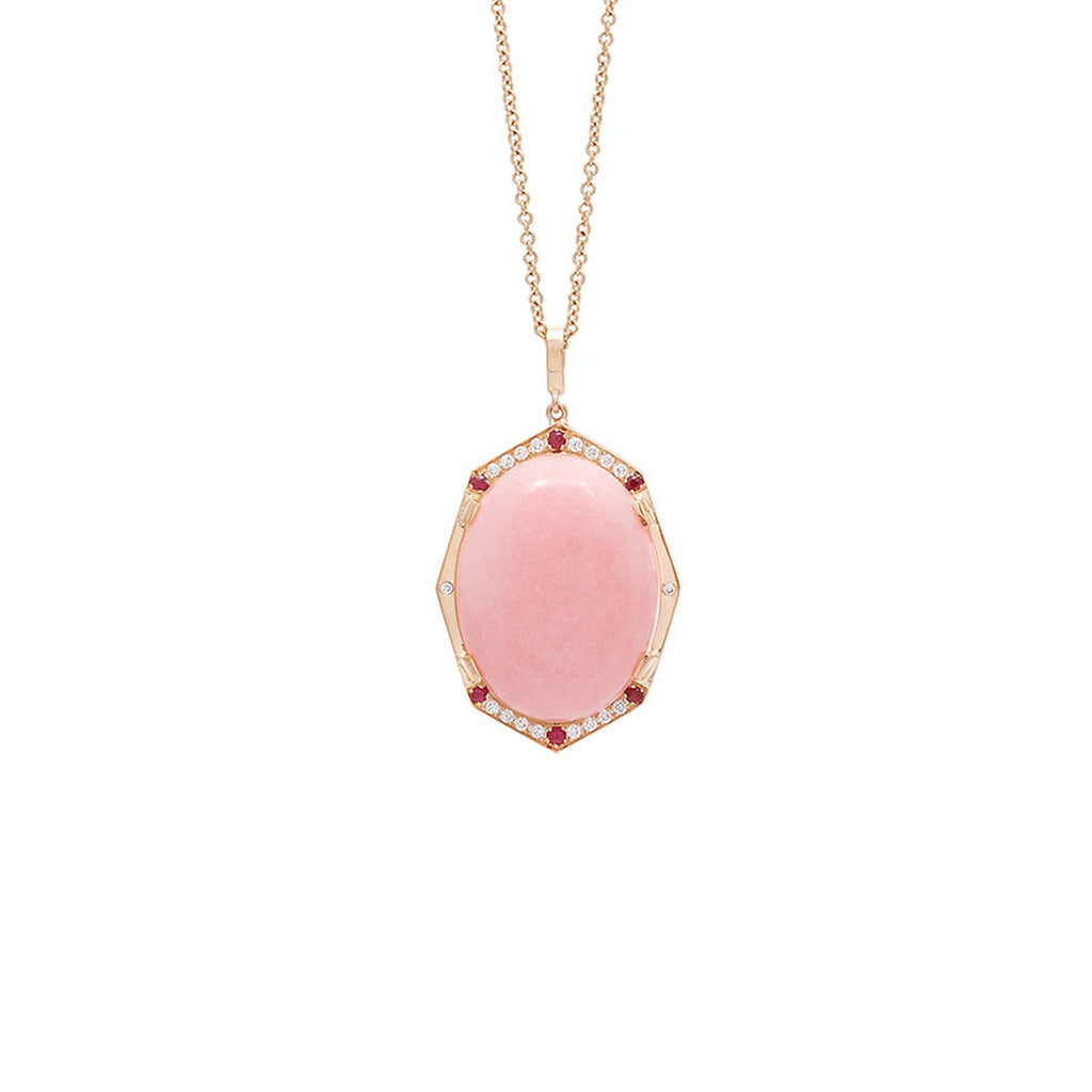 Peruvian Pink Opal Necklace in Rose Gold By Irthly