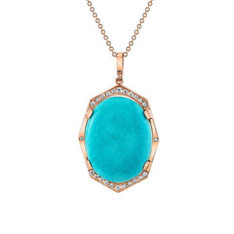 Large Diamond Pendant with Turquoise Center in Gold Jewelry-Affinity Sans Series