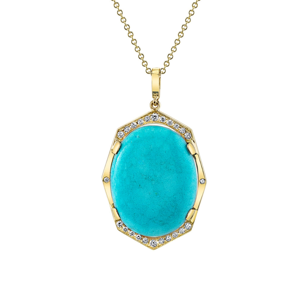 Turquoise and Diamond Pendant in Yellow Gold By Irthly