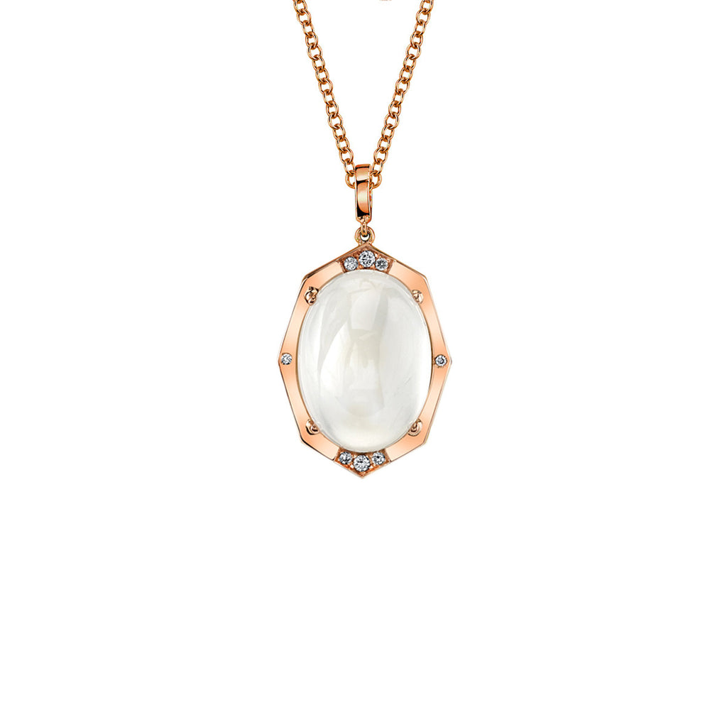 Small Affinity Sans Diamond Pendant With Blue Moonstone Center in 18k Gold Jewelry - Irthly - 1