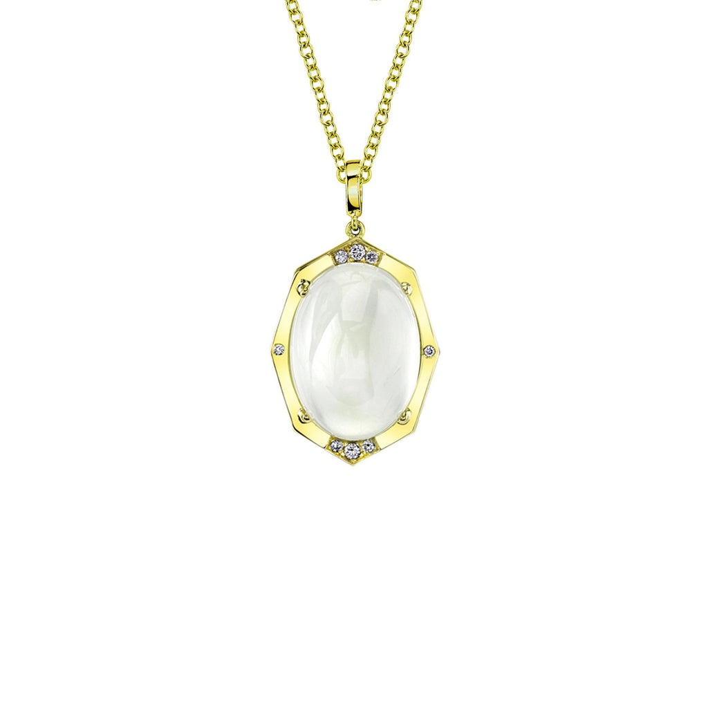 Small Affinity Sans Diamond Pendant With Blue Moonstone Center in 18k Gold Jewelry - Irthly - 2