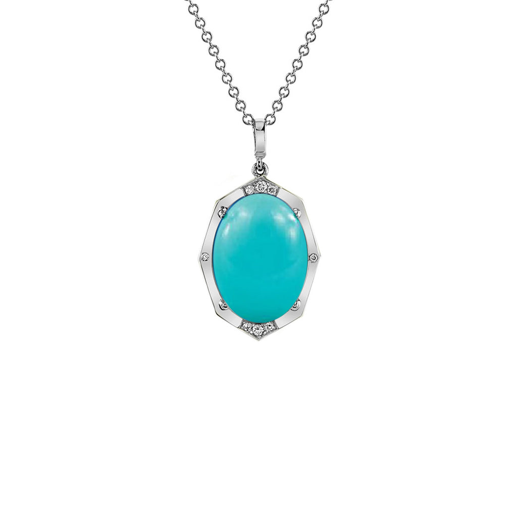 Small Affinity Sans Diamond Pendant With Turquoise Center in 18k Gold Jewelry - Irthly - 3