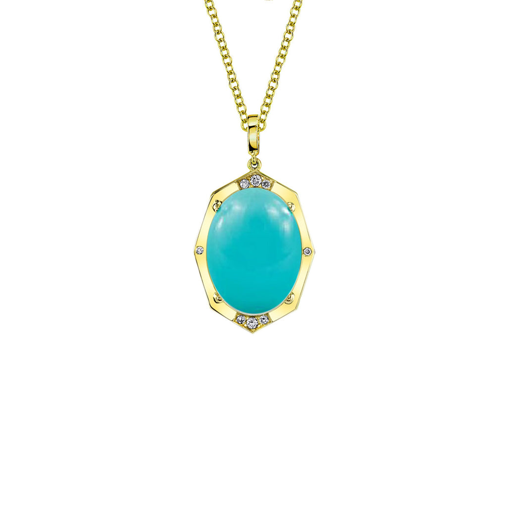 Small Affinity Sans Diamond Pendant With Turquoise Center in 18k Gold Jewelry - Irthly - 1