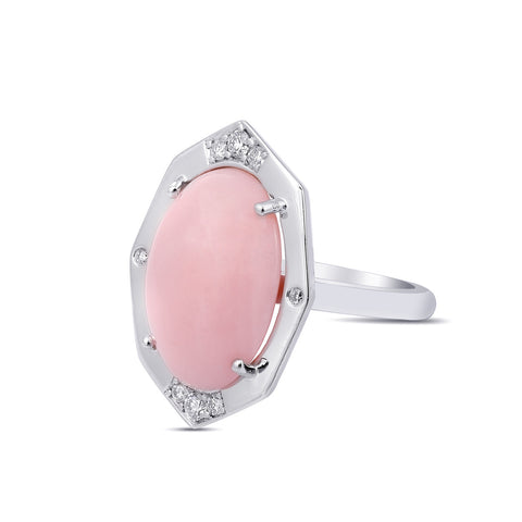 Diamond Ring With Pink Opal Center in Gold Jewelry-Affinity Sans Series