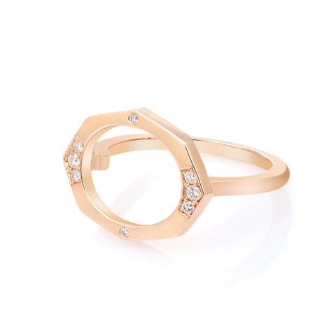 Small Horizontal Diamond Ring in Gold Jewelry-Affinity Sans Series