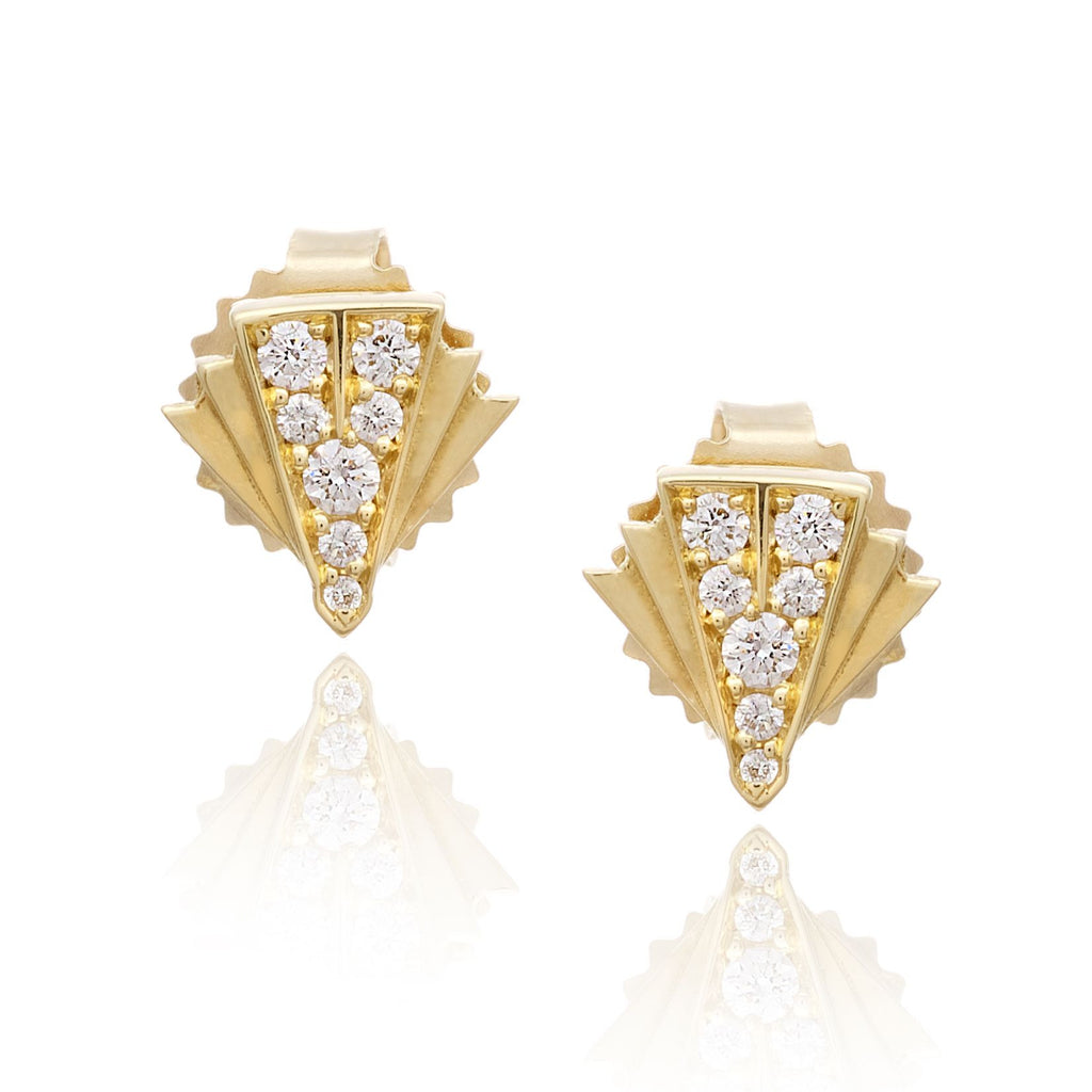 Deco Sans Diamond Earrings Studs in 18k Gold Jewelry - Irthly - 1
