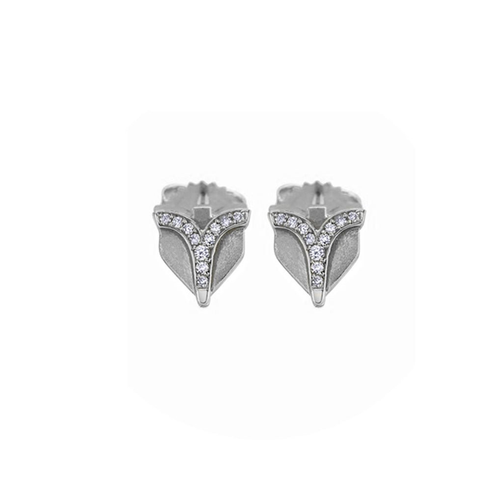 Deco Sans Diamond Earrings Studs in 18k Gold Jewelry - Irthly - 3