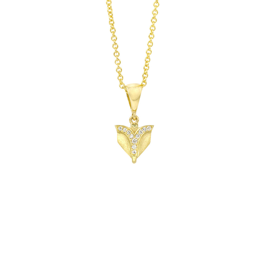 Deco Sans Fountain Diamond Pendant in 18k Gold Jewelry - Irthly - 2