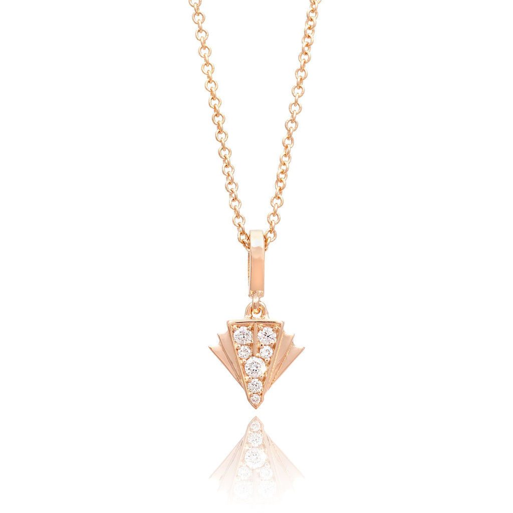 Deco Sans Fan Diamond Pendant in 18k Gold Jewelry - Irthly - 1