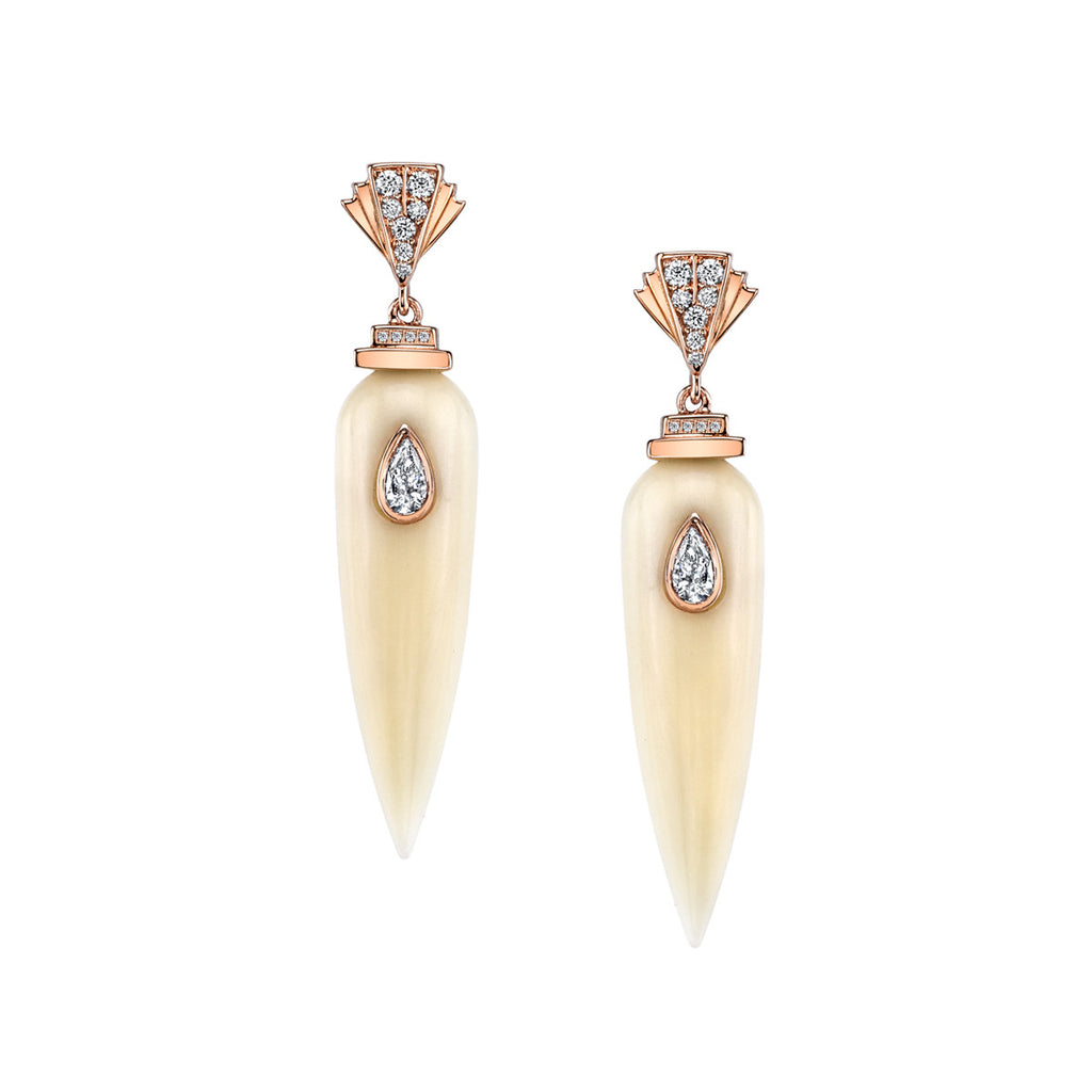 Art D'Eco Large Sepulcher Diamond Earrings in 18K Gold Jewelry - Irthly