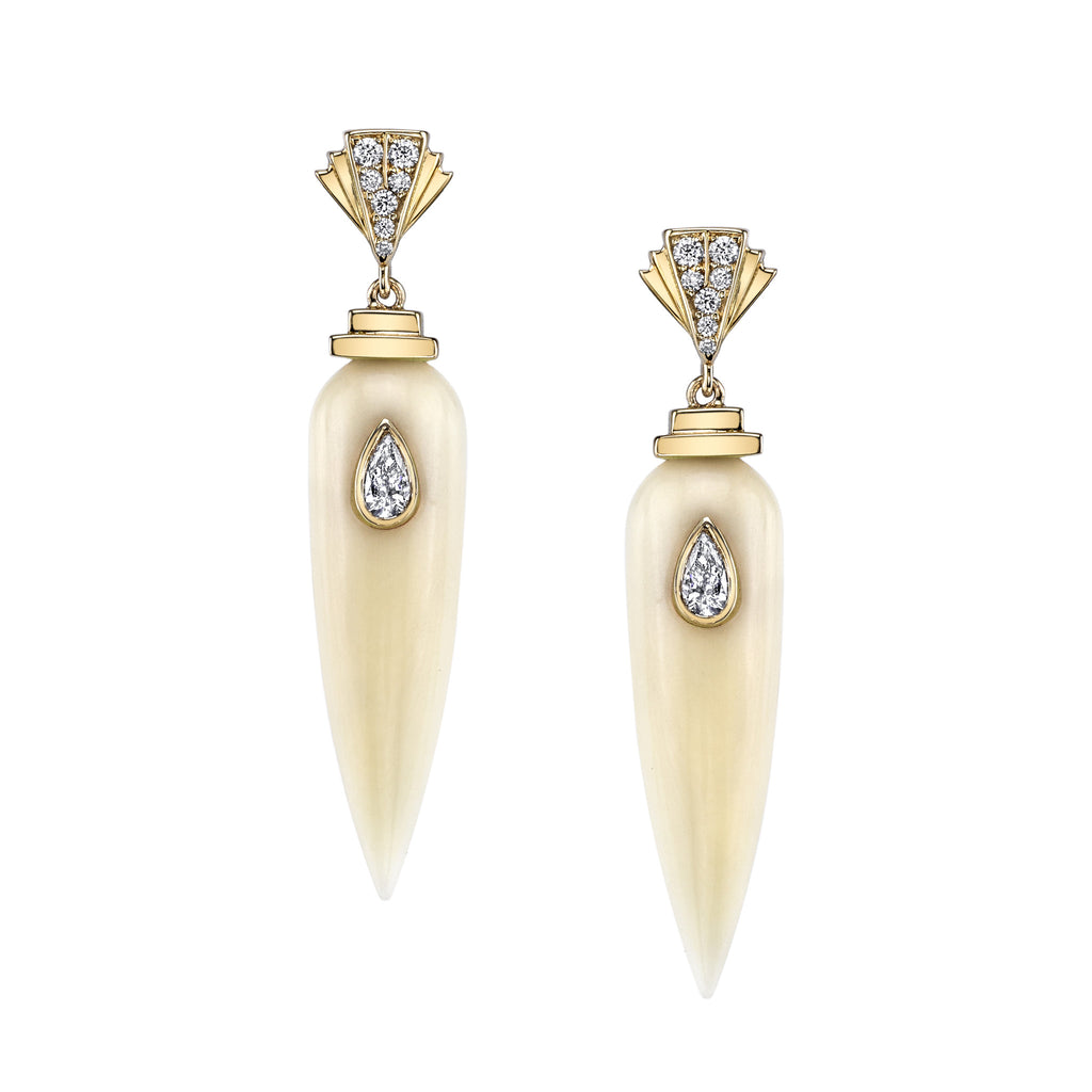 Art D'Eco Large Sepulcher Diamond Earrings in 18K Gold Jewelry
