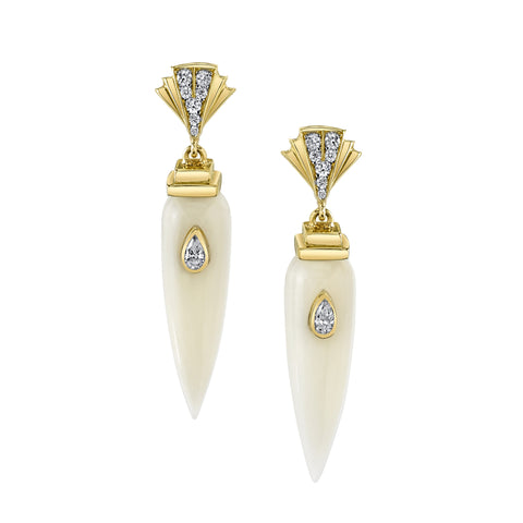 Art D'Eco Small Sepulcher Diamond Earrings in 18k Gold Jewelry - Irthly