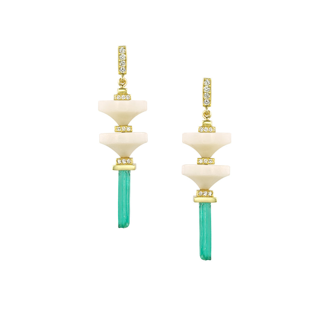 Art D'Eco Terminals Diamond Earrings with Rare Emerald Crystals in 18k Gold Jewelry - Irthly