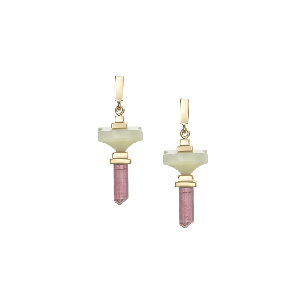 Art D'Eco Small Terminals Earrings with Tourmaline Crystals in 18k Gold Jewelry- Single Layer - Irthly - 2