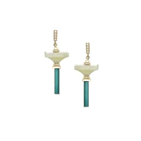 Art D'Eco Large Single Terminals Diamond Earrings with Tourmaline Crystals in 18k Gold Jewelry - Irthly