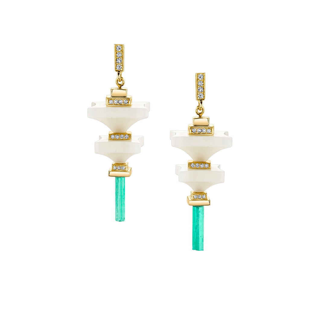Art D'Eco Terminals Diamond Earrings with Emerald Crystals in 18k Gold Jewelry- Large/Small Layers - Irthly