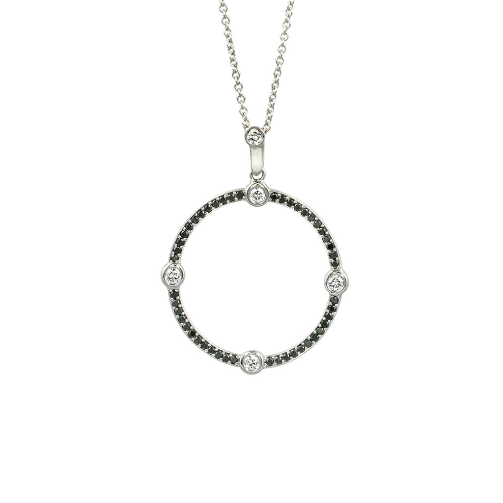 Circle Black and White Diamond Pendant in White Gold By Irthly