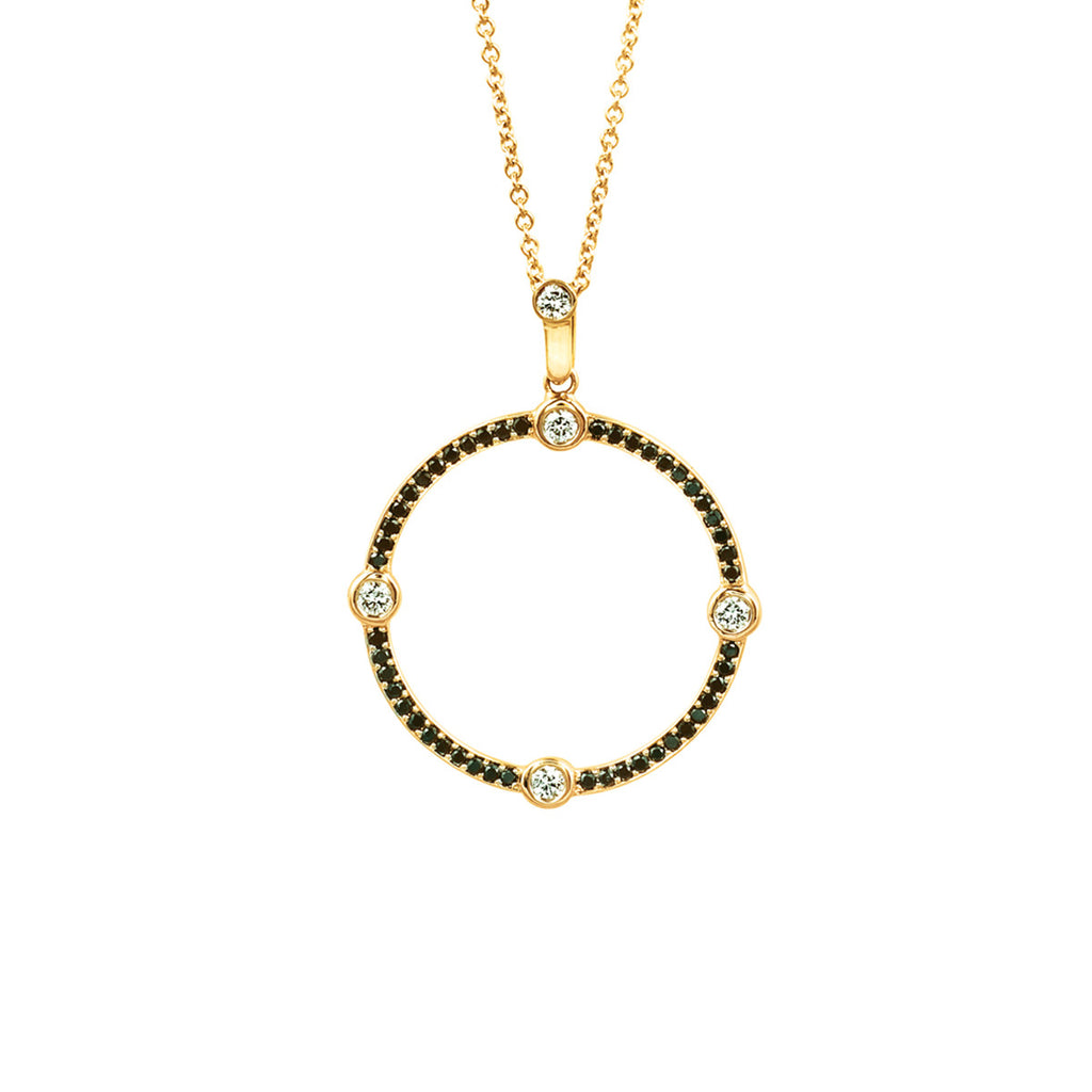 Circle Black and White Diamond Pendant in Yellow Gold By Irthly