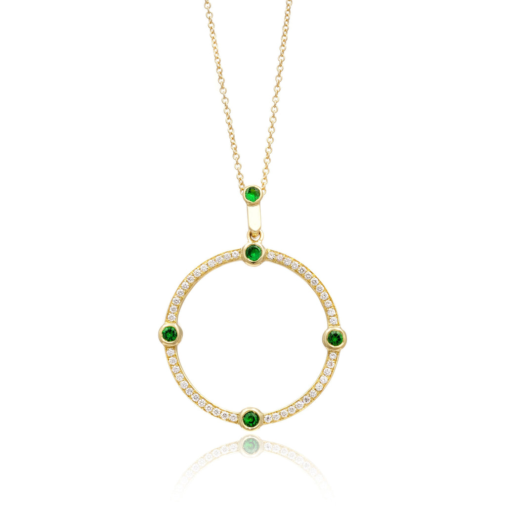 Cardinal Sans Diamond and Tsavorite Pendant in 18k Gold Jewelry - Irthly