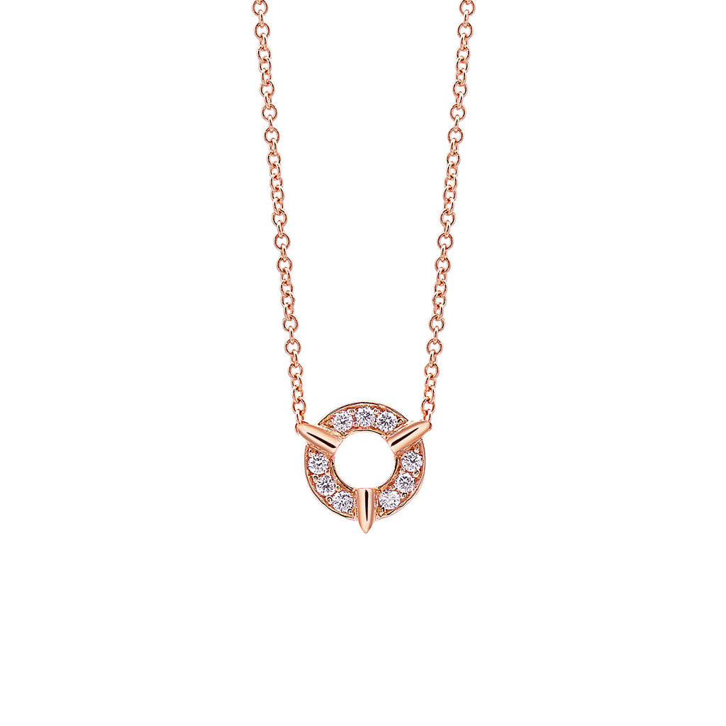 Dainty Circle Diamond Necklace In Rose Gold By Irthly