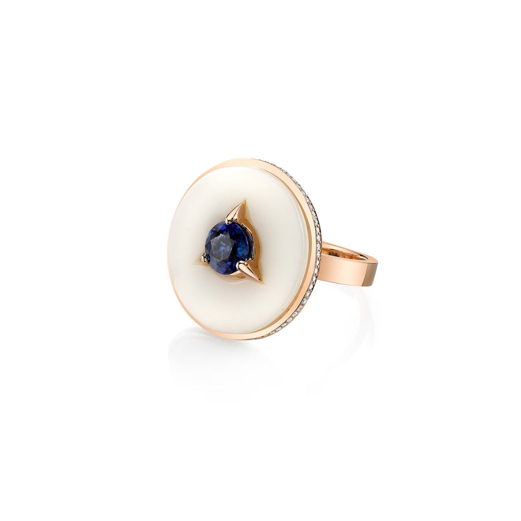Cycles Diamond Alternative Cocktail Ring with Blue Sapphire Center in 18k Gold Jewelry - Irthly - 1